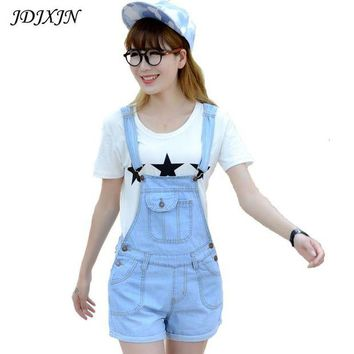 VONG2W 2016 Summer Style Denim Shorts Plus size Korean Womens Jumpsuit Denim Overalls Casual Skinny Girls Pants Jeans Short  JN402