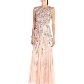Adrianna Papell - Sleeveless Beaded Gown with Godets 91908220