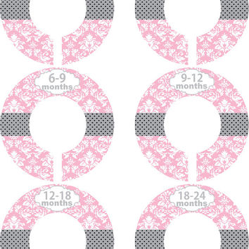 Custom Baby Closet Dividers Girl Pink Grey Damask Polka Dot Nursery Closet Dividers Baby Shower Gift Baby Clothes Organizers Baby