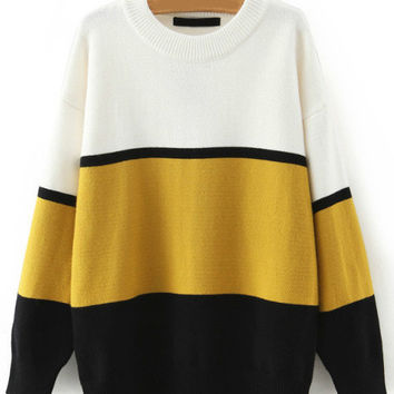 Shop Yellow Striped Sweater on Wanelo