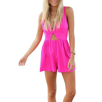 Lattice Back Romper In Pink