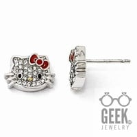 Sterling Silver Hello Kitty Crystal/Enamel Red Bow Collection Post Earring