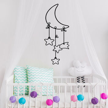 Moon Stars Nursery Vinyl Wall Decal- Crescent Moon Dreamcatcher Wall Decal Kids- Wall Decal Baby Bedroom Nursery Decor- Moon Wall Art #46