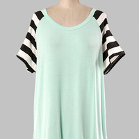 Stripe Sleeve Blouse - 3 Colors