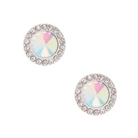 Silver-Tone Pave Halo Stud Earrings