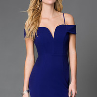 Short Off The Shoulder Blue Mini Dress by City Triangles