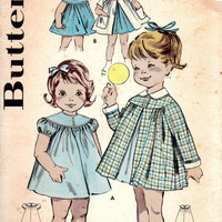 Butterick 9682 Sewing Pattern 1960 Holiday Party Dress Toddler Girls Coat Size 1/2