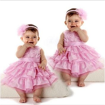 2 PCS Cute Cotton Rose Garden Pink Rosette Silk Dress Easter Flower Baby Girls O-Neck Wedding + Headband
