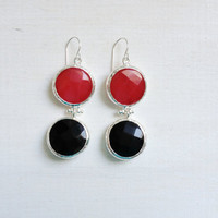 LARGE dangle long  DUAL bright red and classic black gemstone earringssilver gemstone earrings Israel jewelry