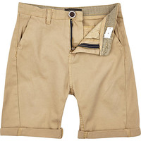 River Island Boys tan chino shorts