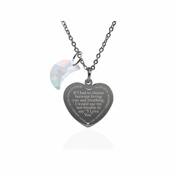 Inspirational Heart Necklace Made With Crystals from Swarovski  - Last Breathe from Mom