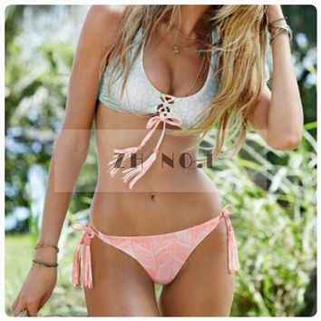 Style Bikini Sets Women Sexy Vintage Pure Color Bikini Top and Bottom 2 Pieces Beach Swimming Suits N04ZN3 CF