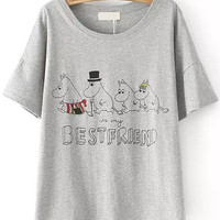 Bestfriends Graphic Hippos Print Grey T-Shirt