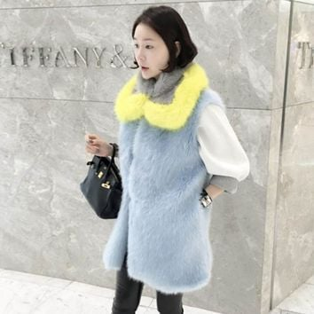 Korea Long Hairy Shaggy Faux Fox Fur Vest With Contrast Collar 1 Set Faux Fur Sleeveless Jacket Waistcoat Outerwear SY16-11-21