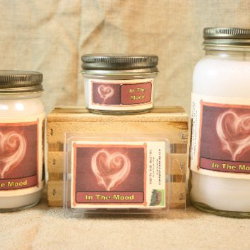 In The Mood Scented Candle, In The Mood Scented Wax Tarts, 26 oz, 12 oz, 4 oz Jar Candles or 3.5 Clam Shell Wax Melts