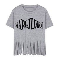 ZLYC Punk Fringe Design Short Sleeve Women's Casual T-shirt Tassel Trim Tee (Grey)