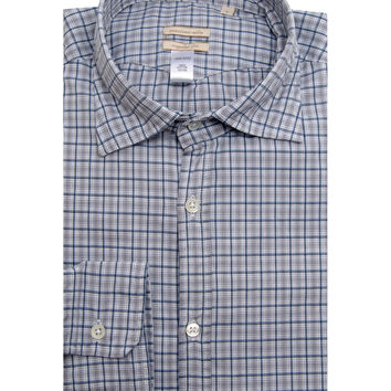 Massimo Alba Bright Blue Plaid Dress Shirt