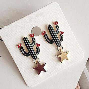 2017 Hot Sale Funny Fashionable Drop Earrings Lovely Cactus Shape Alloy Star Boucle D'oreille Pendante Femme Ear Accessories