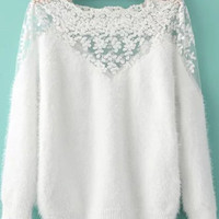 Lace Paneled Mohair White Sweater -SheIn(Sheinside)