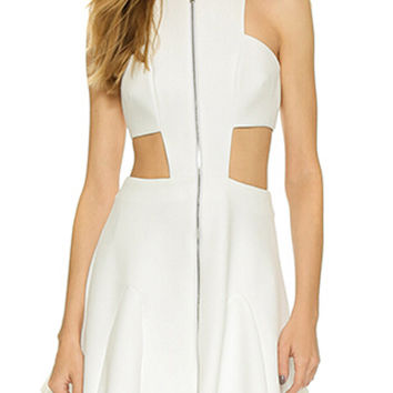 White Sleeveless Cut-Out Front Zipper Skater Mini Dress