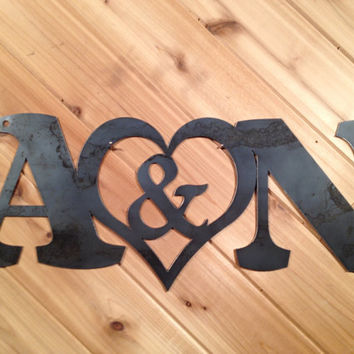 Custom Raw Metal Initials by PrecisionCut on Etsy