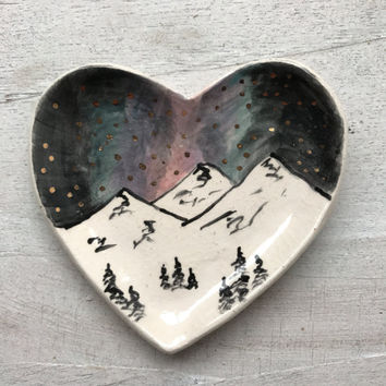 Handmade and hand painted Heart ceramic mountain jewelry dish, ceramic heart ring dish, boho jewelry dish, ceramic home decor