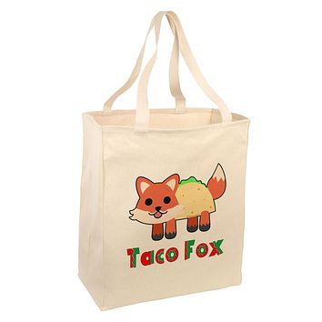 Cute Taco Fox Text Large Grocery Tote Bag