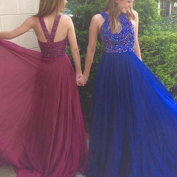 Royal Blue Long Prom Dresses 2017 Western Country With Sparkly Beaded Custom Made Gilr Homecoming Party Gowns Vestido De Festa