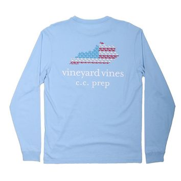 Custom Long Sleeve Kentucky Outline Tee in Jake Blue by Vineyard Vines
