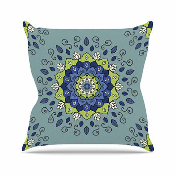 "Cristina bianco Design ""Blue & Green Mandala"" Blue Geometric Outdoor Throw Pillow"