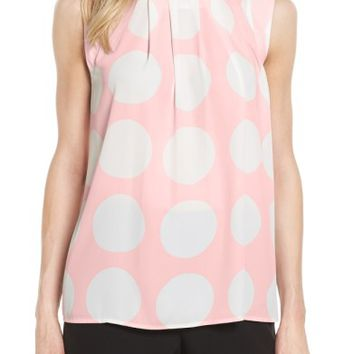 Vince Camuto Pleat Polka Dot Blouse | Nordstrom