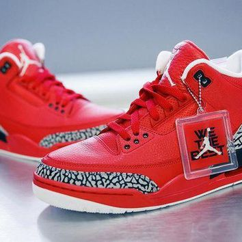 DCK7YE Nike Air Jordan Retro 3 III Red AJ3 Discount Men Sports Basketball Shoes Sale Online