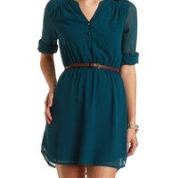 Belted Chiffon Shirt Dress by Charlotte Russe - Hunter Green