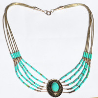 Vintage Sterling Liquid Silver and Turquoise Concho Necklace
