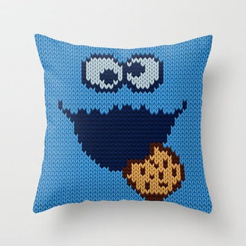 cookie & monster knit Throw Pillow by Colli13