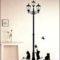 Cats & Lamp  Wall Decal Wall Sticker Home Decal Home Sticker