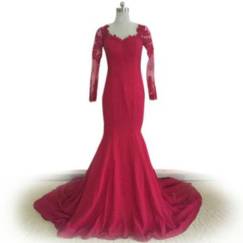 Robe Red Lace Evening Dress long Sleeves Mermaid Evening Dress Elegant Applique Long Sleeve
