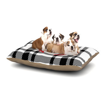"KESS Original ""White Plaid Monogram"" Dog Bed"