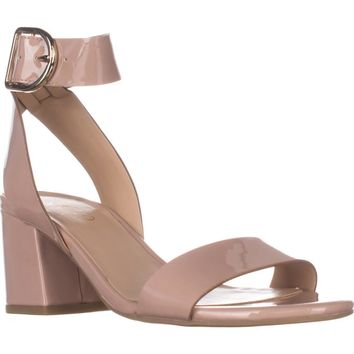 Franco Sarto Marcy Ankle Strap Block-Heel Sandals, Rose Patent, 9.5 US / 39.5 EU