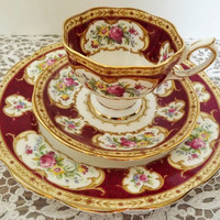 "Vintage Royal Albert - Lady Hamilton - 3-piece Set with Teacup, Saucer, and 8"" Salad/Sandwich Plate"