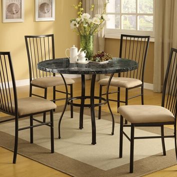 Acme 70495 5 pc darell ii collection round black faux marble top and metal frame table set and fabric upholstered chairs