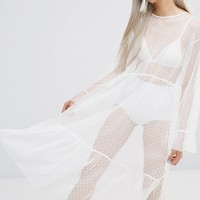 STYLENANDA Spotted Mesh Maxi Dress