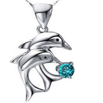 Silver Plated Double Dolphin Pendants Necklaces For Women