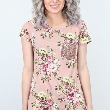 Sparkle + Floral Sequin Pocket Tee {Dusty Pink}
