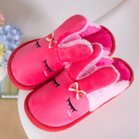 Lovely Korean Rabbit Winter Cotton Wedge Anti-skid Height Increase Slippers [6049374849]