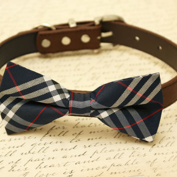 Navy and brown dog bow tie collar, Plaid Pet wedding, Gift