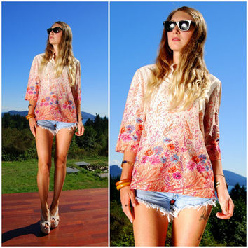 70's Floral Hippie Top, Psychedelic Peasant Blouse w/ Bell Sleeves, Red Pink Orange Ombre, Vintage Abstract Oversized Tunic Top Size Large
