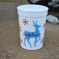 5 Personalized Christmas Reindeer party favor cups in turquoise and red