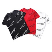 Balenciaga summer new full printed logo trend round neck half sleeve shirt