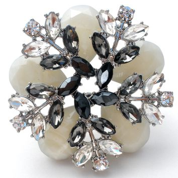 White Gray & Clear Rhinestone Brooch Pin